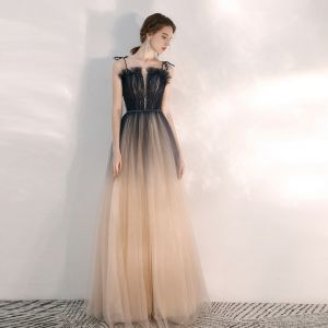 Elegant Navy Blue Gradient-Color Champagne Evening Dresses  2020 A-Line / Princess Spaghetti Straps Sleeveless Beading Glitter Tulle Floor-Length / Long Ruffle Backless Formal Dresses