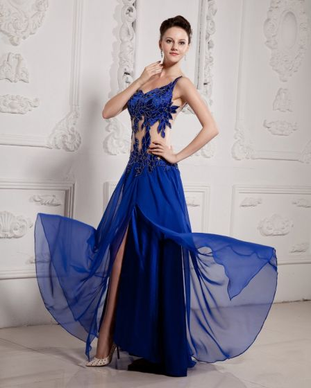 Chiffon Satin Beading One Shoulder Floor Length Prom Dress