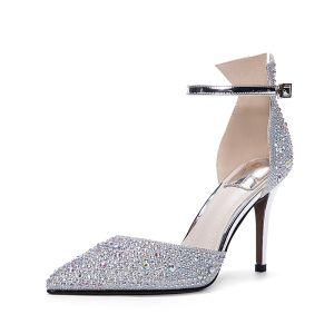 Bling Bling Argenté Chaussure De Mariée 2017 À Bout Pointu Perlage Faux Diamant Lanières Talons Hauts Cuir Escarpins Chaussures Femmes