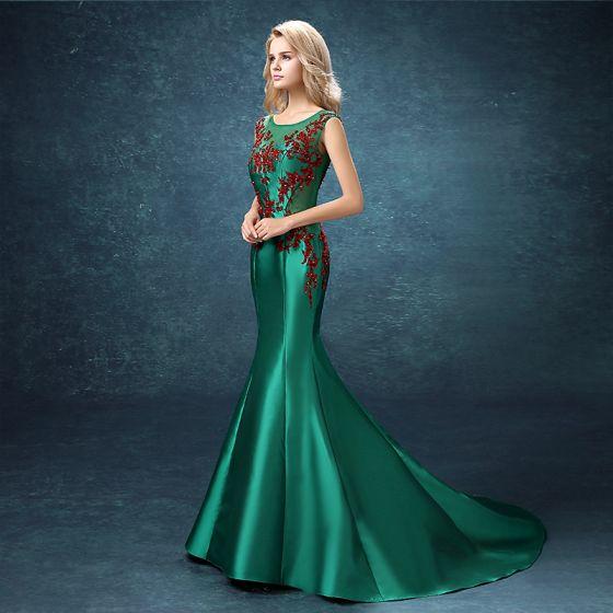 Piękne Sukienki Wieczorowe 2017 Ciemnozielony Trenem Sąd Syrena / Rozkloszowane Wycięciem Bez Rękawów Bez Pleców Rhinestone Frezowanie Cekiny Perła