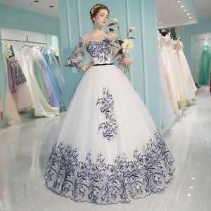 Chinese style White Formal Dresses 2017 A-Line / Princess U-Neck Navy Blue Lace Printing Rhinestone Appliques Backless Embroidered Prom Dresses