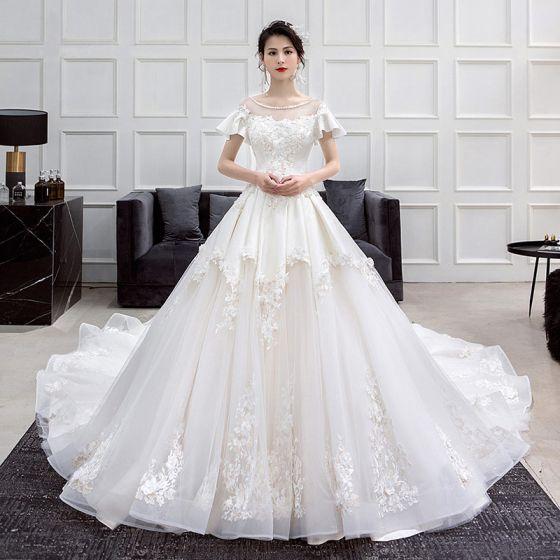 moda champán vestidos de novia 2018 a-line / princess scoop escote