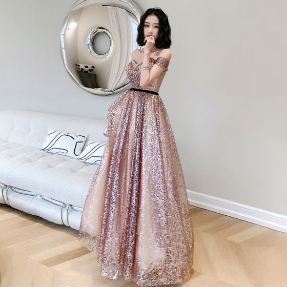 Sexy Blushing Pink Sequins Pearl Prom Dresses 2021 A-Line / Princess Off-The-Shoulder Backless Short Sleeve Floor-Length / Long Formal Dresses