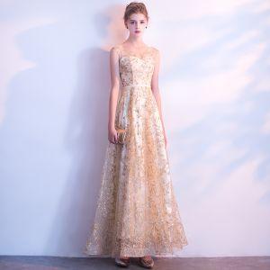 Błyszczące Szampan Sukienki Wieczorowe 2018 Princessa Szarfa Cekinami Cekiny V-Szyja Bez Pleców Bez Rękawów Długość Kostki Sukienki Wizytowe
