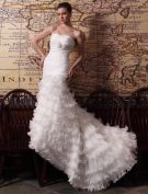 2015 Trumpet /Mermaid Chapel Train Organza Satin Wedding Dress With Cascading Ruffles