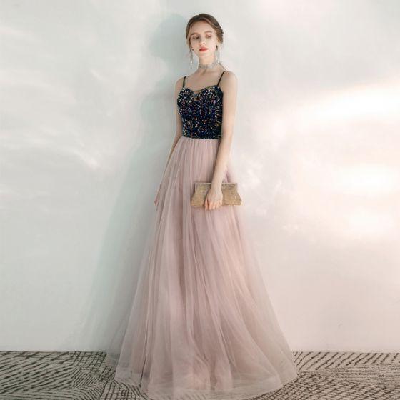Eleganckie Rumieniąc Różowy Sukienki Wieczorowe 2020 Princessa Spaghetti Pasy Bez Rękawów Cekiny Frezowanie Długie Wzburzyć Bez Pleców Sukienki Wizytowe