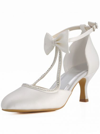 Satin Wedding Shoes Sweet Bow Tie Round Foot Ring Diamond Party Shoes