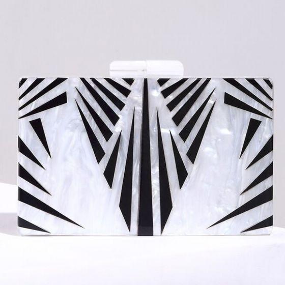 Mode Weiß Gestreift Cocktail Abend Clutch Tasche 2018