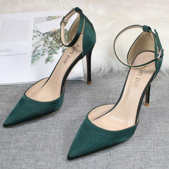 Mooie / Prachtige Donkergroen Satijn Gala Sandalen Dames 2020 Enkelband 10 cm Naaldhakken / Stiletto Spitse Neus Sandalen