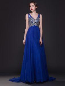 Glitter Kristallrhinestone V-ausschnitt Rückenfrei Bodenlangen Langen Königsblau Abendkleider