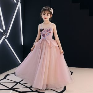 Elegante Parel Roze Bloemenmeisjes Jurken 2019 A lijn Spaghettibandjes Mouwloos Appliques Kant Kralen Lange Ruche Ruglooze Jurken Voor Bruiloft