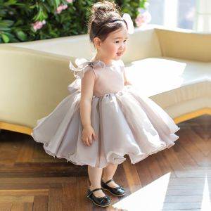 Elegant Grey Organza Birthday Flower Girl Dresses 2020 Princess Scoop Neck Sleeveless Short Ruffle Wedding Party Dresses