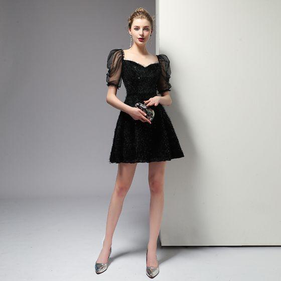 Charming Black Homecoming Graduation Dresses 2020 A-Line / Princess Square Neckline Sequins Tassel Short Sleeve Backless Short Formal Dresses
