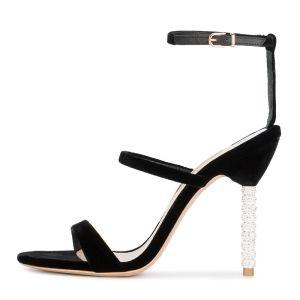 Mooie / Prachtige Zwarte Sandalen Dames 2018 Suede Enkelband 10 cm Naaldhakken / Stiletto Peep Toe Sandalen