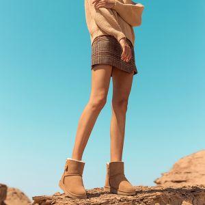 Mode Marrons Bottes De Neige 2020 Boutons Cuir Bottines Hiver Plate À Bout Rond Bottes Femme