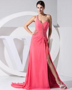 Stylish Solid Chiffon Silk Slopping Beading Sleeveless Backless Ruffle Court Train Slit Evening Dress