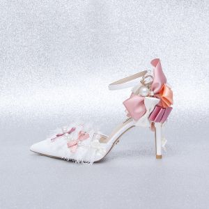 Charming Ivory Prom Womens Shoes 2020 Lace Pearl Bow Ankle Strap 9 cm Stiletto Heels Pointed Toe High Heels