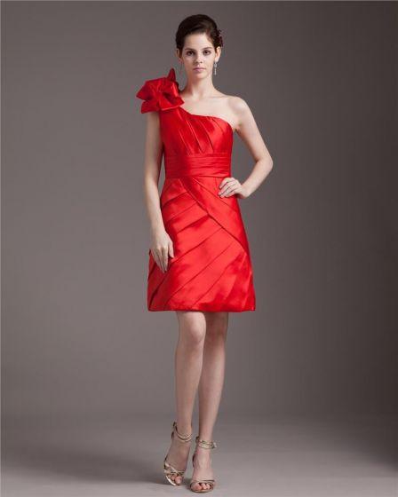 2cd5993fb Volantes Elegantes Inclinados Vestido De Cóctel De Satén De La Rodilla