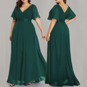 Formal Dresses Evening Dresses  Zipper Up Cascading Ruffles Solid Color Floor-Length / Long Plus Size Tulle V-Neck Evening Party Summer Short Sleeve Modest / Simple A-Line / Princess 2020 Green