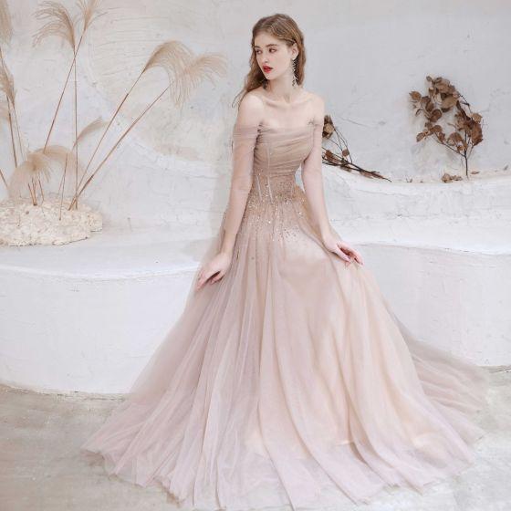 Charmant Rougissant Rose Robe De Soirée 2021 Princesse De l'épaule Perlage Étoile Paillettes 3/4 Manches Dos Nu Longue Robe De Ceremonie