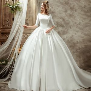 Vintage / Retro Ivory Satin Wedding Dresses 2019 Ball Gown Scoop Neck 1/2 Sleeves Backless Cathedral Train Ruffle