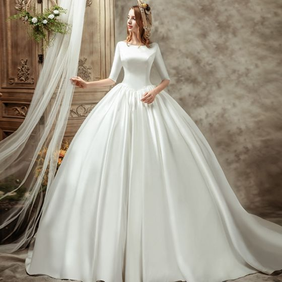 Vintage / Retro Ivory Satin Wedding Dresses 2019 Ball Gown