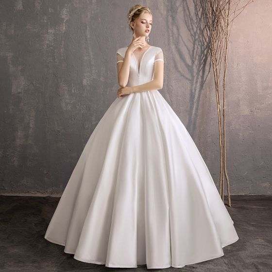 Modest Simple Ivory Wedding Dresses 2019 Ball Gown Scoop Neck Short Sleeve Backless Floor Length Long