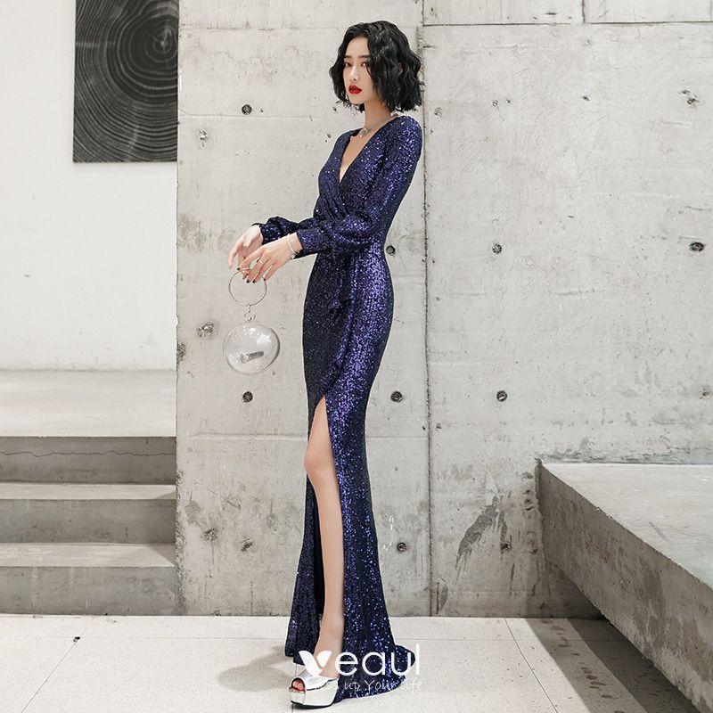 Elegant Navy Blue Evening Dresses 2019 Trumpet / Mermaid V