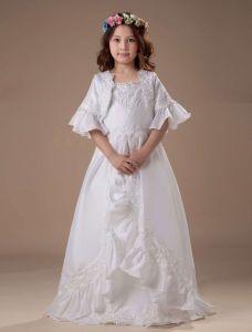 Blanc D'une Ligne Carrés De Plancher En Taffetas Longueur Robe Ceremonie Fille Robe Fille Mariage