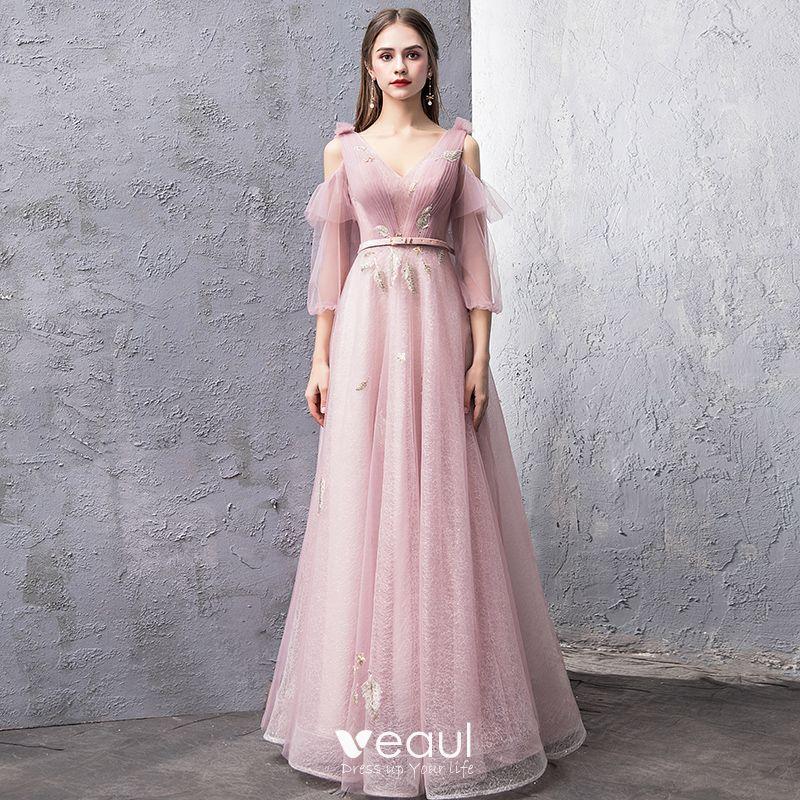 6599e8cb36 Modern / Fashion Blushing Pink Evening Dresses 2019 A-Line ...