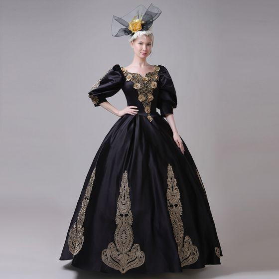 Vintage / Originale Médiévale Noire Robe Boule Robe De Bal 2021 V-Cou 3/4 Manches Longue Dentelle 3D Fleur Fait main Cosplay Promo Robe De Ceremonie