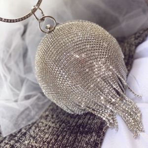 Sparkly Silver Rhinestone Tassel Clutch Bags 2020