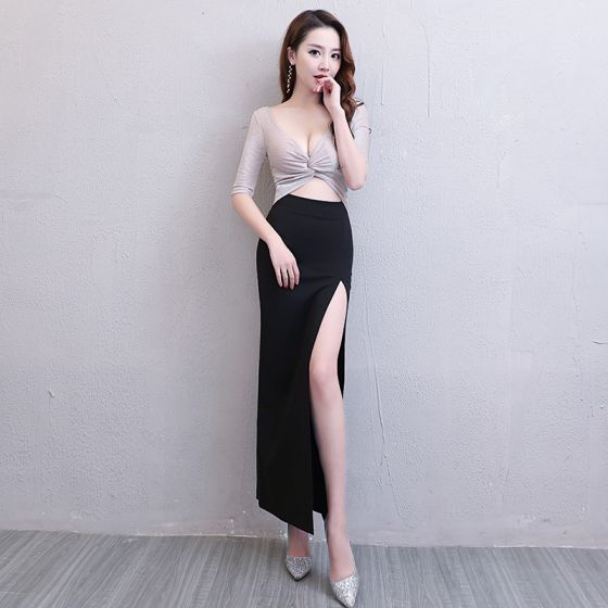 eaac3d0b Sexy Negro Plata Glitter Vestidos de noche 2019 Trumpet / Mermaid V-Cuello  1/2 Ærmer Delante ...