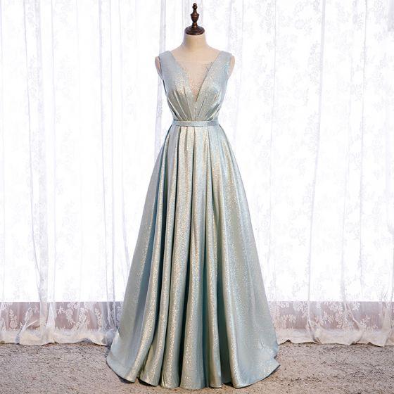Mode Silver Dansande Balklänningar 2021 Prinsessa Genomskinliga Djup v-hals Ärmlös Rhinestone Glittriga / Glitter Polyester Skärp Långa Ruffle Halterneck Formella Klänningar
