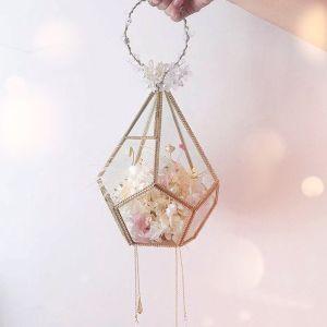 Oszałamiający Bajka Szampan Bukiety Ślubne 2020 Wykonany Ręcznie Frezowanie Kryształ Pióro Kwiat Perła Rhinestone Ślub ślubna Bal Akcesoria
