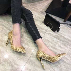 Sparkly Gold Prom Pumps 2018 Glitter Sequins Rivet Leather 12 cm Stiletto Heels Pointed Toe Pumps