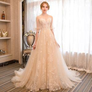 Eleganckie Szampan Suknie Ślubne 2018 Princessa Aplikacje Wycięciem 1/2 Rękawy Bez Pleców Trenem Sąd Ślub