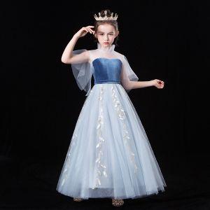 Piękne Błękitne Przezroczyste Sukienki Dla Dziewczynek 2020 Princessa Wysokiej Szyi Kótkie Rękawy Liść Aplikacje Z Koronki Długie Wzburzyć