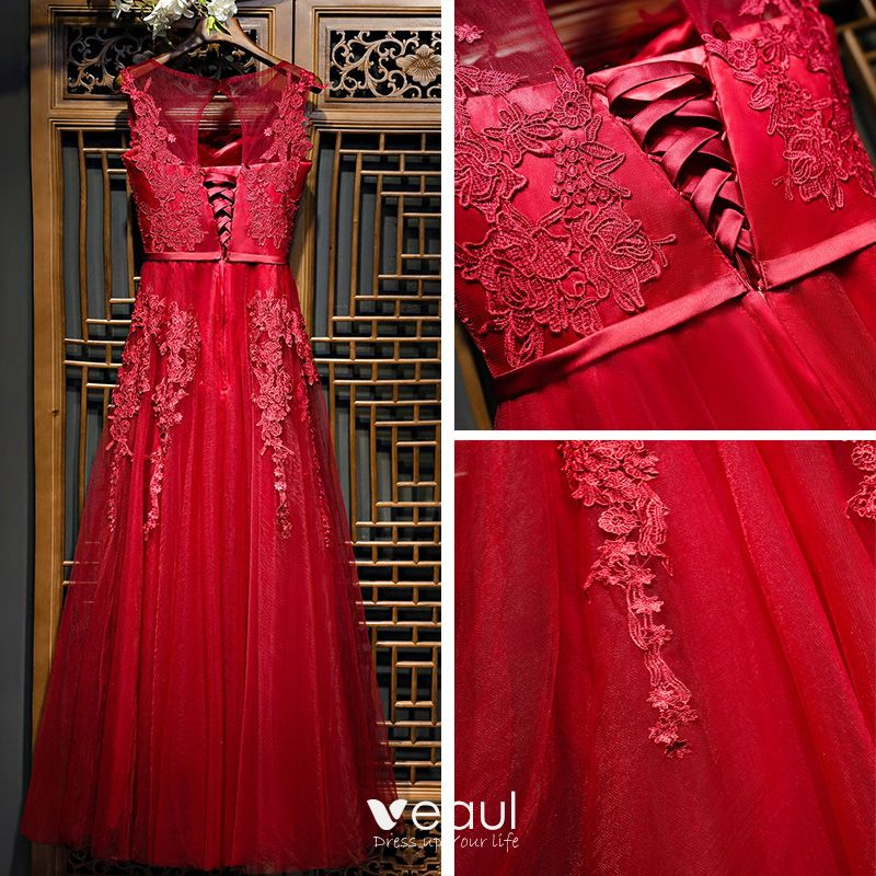Chic / Beautiful Red Formal Dresses Evening Dresses  2017 Lace Flower Scoop Neck Sleeveless Ankle Length A-Line / Princess