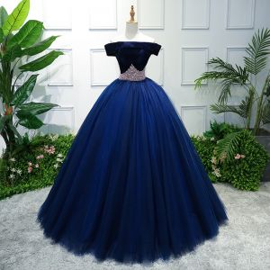 Elegant Royal Blue Prom Dresses 2019 Ball Gown Off-The-Shoulder Short Sleeve Pearl Floor-Length / Long Ruffle Backless Formal Dresses