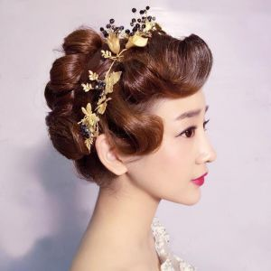 Modest / Simple Gold Metal Headpieces 2018 Butterfly Beading Accessories