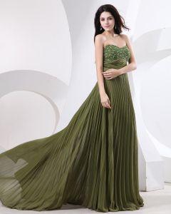Chiffon Applique Rüsche Bördelte Schatz Bodenlangen Abendkleid