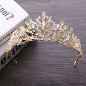 Sparkly Gold Metal Accessories 2018 Wedding Rhinestone Tiara