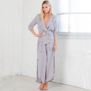 Mode Grau Sommer Resort-Kleidung Damenbekleidung 2019 V-Ausschnitt 3/4 Ärmel Wadenlang Maxikleider