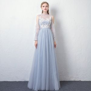 Modern / Fashion Sky Blue See-through Evening Dresses  2019 A-Line / Princess High Neck Puffy Long Sleeve Appliques Lace Sash Floor-Length / Long Ruffle Backless Formal Dresses