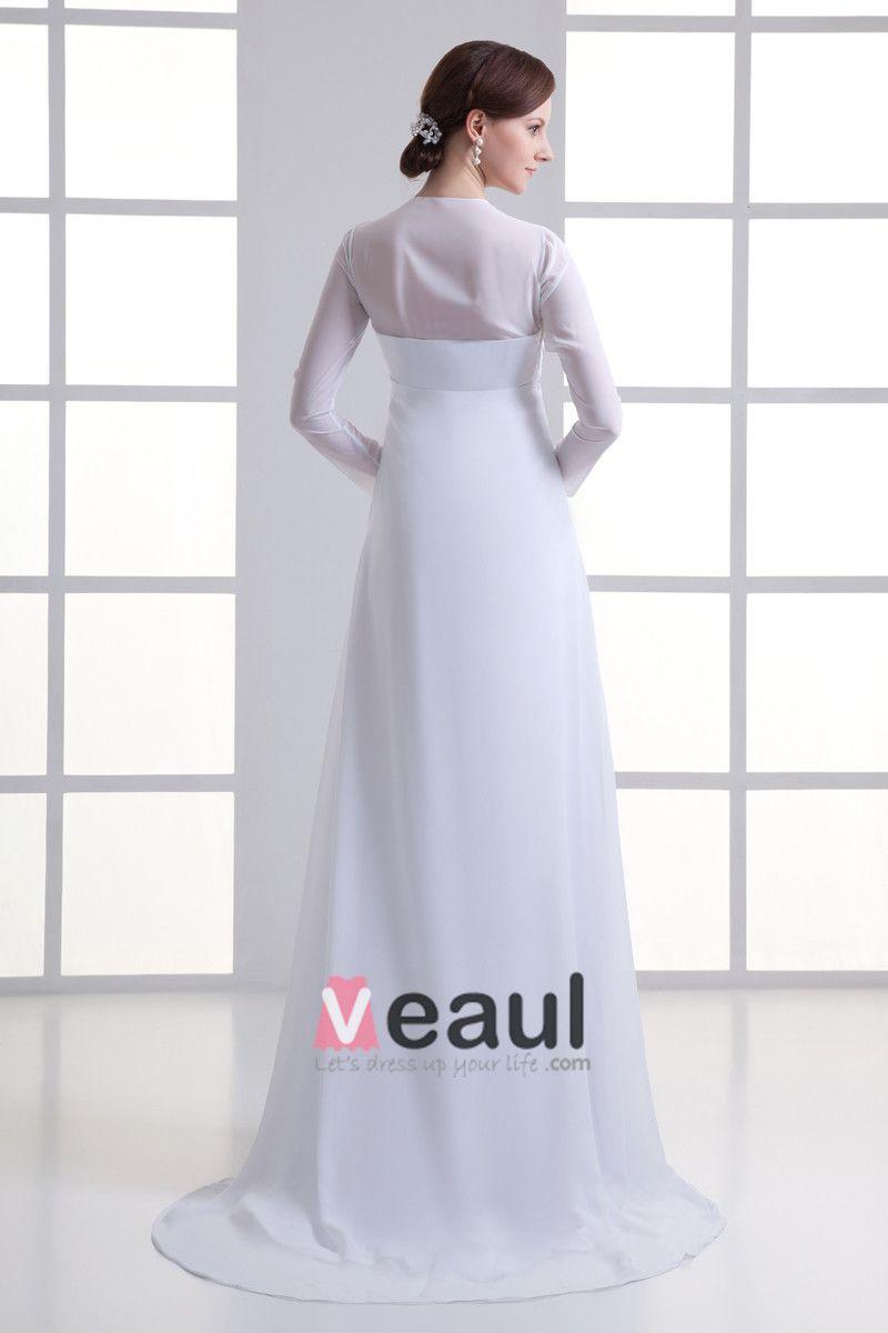Chiffon Ruffle V Neck Court Train Empire Wedding Dress