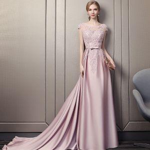 Elegante Pink Abendkleider 2018 A Linie Rundhalsausschnitt Ärmel Pailletten Perlenstickerei Schleife Stoffgürtel Kathedrale Schleppe Rüschen Rückenfreies Festliche Kleider