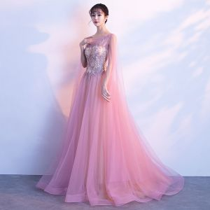 Chic / Beautiful Blushing Pink Evening Dresses  2018 A-Line / Princess Lace Flower Crystal Scoop Neck Backless Sleeveless Watteau Train Formal Dresses