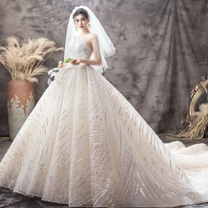 Luxury / Gorgeous Champagne Wedding Dresses 2019 Ball Gown Spaghetti Straps Sequins Sleeveless Backless Bow Royal Train
