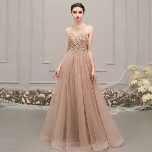 Luxury / Gorgeous Champagne See-through Evening Dresses  2019 A-Line / Princess Scoop Neck Sleeveless Rhinestone Beading Floor-Length / Long Ruffle Backless Formal Dresses